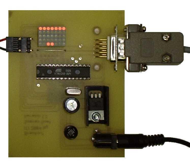 Atmel AVR ATmega8 Breakout on a 7x5 LED dot matrix